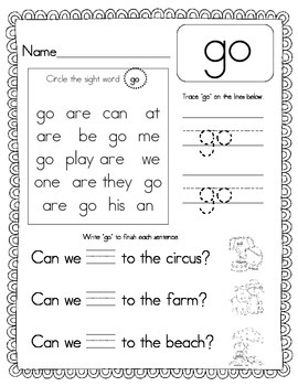 Print and Go! Sight Word Recognition, Set 2