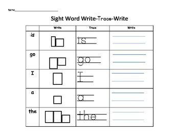 Sight Word Write-Trace-Write