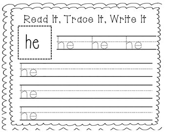 Sight Word Writing Practice: He