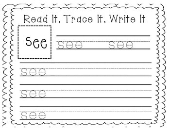 """Sight Word Writing Practice: """"See"""""""