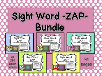 Sight Word - ZAP - Card Game Bundle {ALL 220 Dolch}
