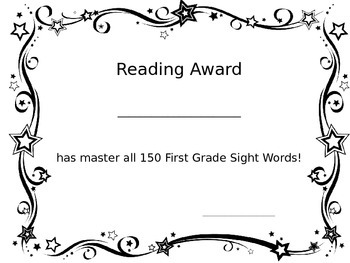 Sight Word and Reading Level Award