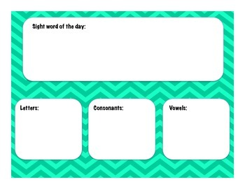 Sight Word of the Day- Calendar add on