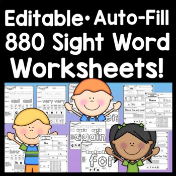 Sight Word Practice Pages {220 Sight Word Worksheets!}