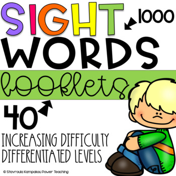 Sight Words Booklets for K-5 - 50 Booklets-1000 Fry Words