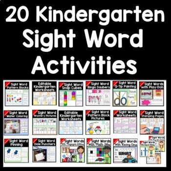 Sight Words Bundle {ALL 19 centers on the Pre Primer Dolch List!}