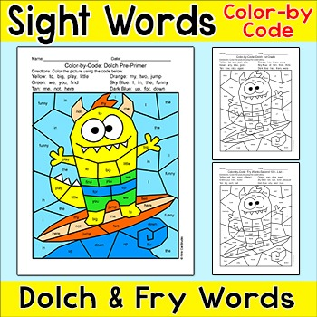 Color by Sight Words Summer Math Activity - Surfing Monster