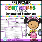 Sight Words Cut and Paste Sentences Worksheets {Pre Primer}