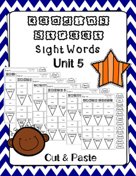 Sight Words Cut and Paste. Reading Street. Unit 5.
