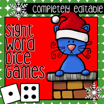 """The Cat Saves Christmas  Sight Word Games """"EDITABLE"""""""