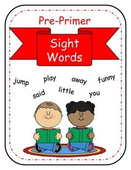 Sight Words no prep printables for the Dolch Pre-Primer Li