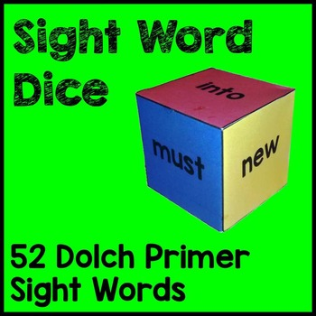 Dolch Primer Sight Word Dice Games Literacy Games