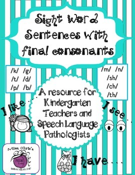 Sight Words & Final Consonants ~~ Articulation and Sight w