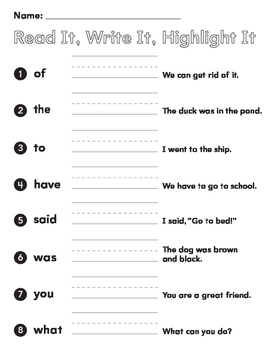 Sight Words First Grade Read it! Write it, Highlight it, (