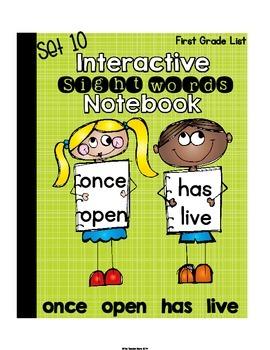 Sight Words Interactive Notebook First Grade List Set 10 (