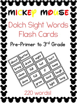 Sight Words Flash Cards Bundle -- 220 Dolch Words -- Micke
