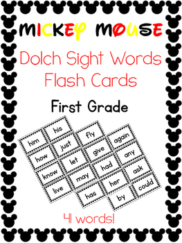 Sight Words Flash Cards -- First Grade Dolch -- Mickey Mou