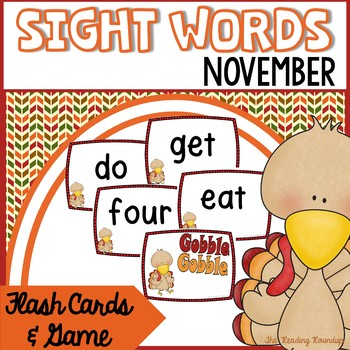 Sight Words Flash Cards & Game - November