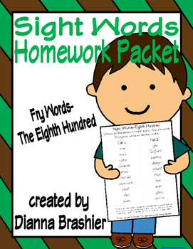 Sight Words (Fry Words)- The Eighth Hundred Word List Home