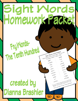 Sight Words (Fry Words)- The Tenth Hundred Word List Homew