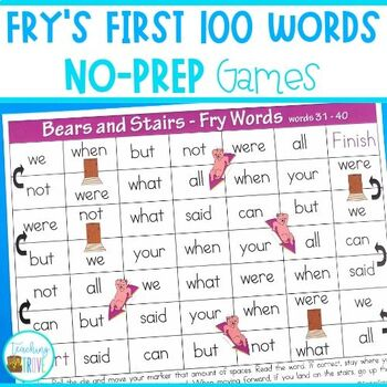 Sight Words - Fry's First 100 board games and lists