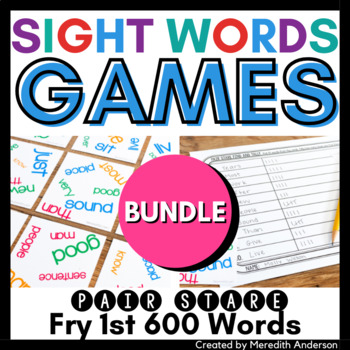 Sight Words Games: Pair Stare Fry MEGA BUNDLE first 600 words