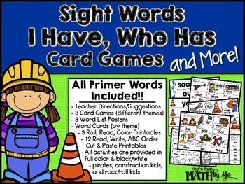 Sight Words I Have, Who Has Card Games and More! {All Prim