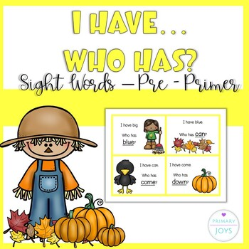 Sight Words - I Have, Who Has (Pre-primer)