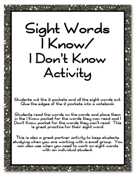 Sight Words I Know/I Don't Know