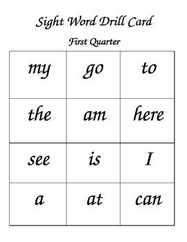 Sight Words, Letter Sounds and Sentences (1st Nine Weeks)