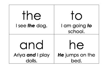 Sight Words List 1 and 2 with sentences