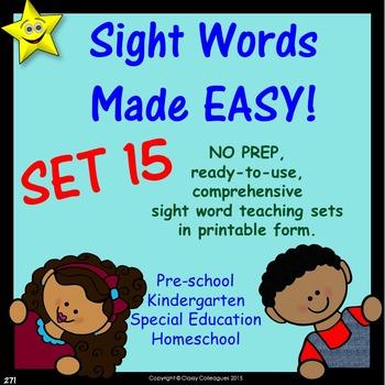 Sight Words, No-Prep Comprehensive Activities, Set 15