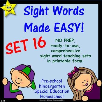 Sight Words, No-Prep Comprehensive Activities, Set 16