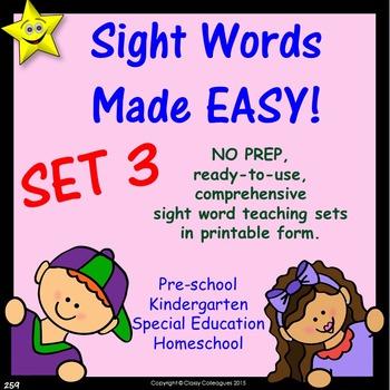 Sight Words, No-Prep Comprehensive Activities, Set 3