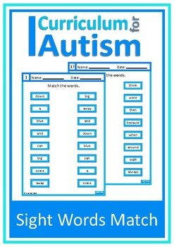 Sight Words Matching, Write and Wipe, Autism, Special Educ
