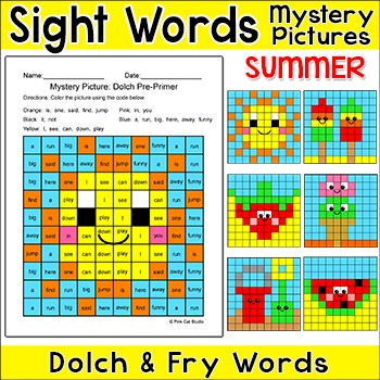 Sight Words Summer Mystery Pictures - popsicles, strawberr