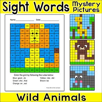 Wild Animals Sight Words Hidden Pictures: Lion, Giraffe, M