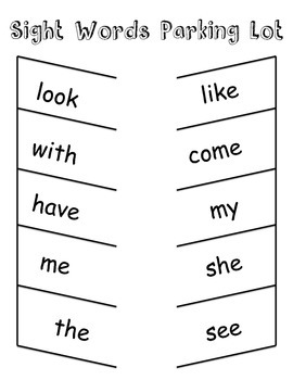 Sight Words Parking Lot Game