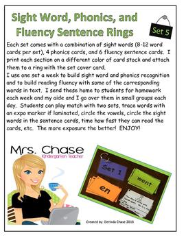 Sight Words, Phonics, and Sentence Flash Cards - SET 5