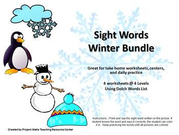 Sight Words Practice Winter Bundle
