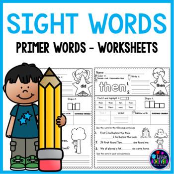 Primer Sight Words Worksheets