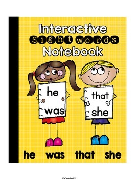 Interactive Notebook Sight Words (he, was, that, she) Prim