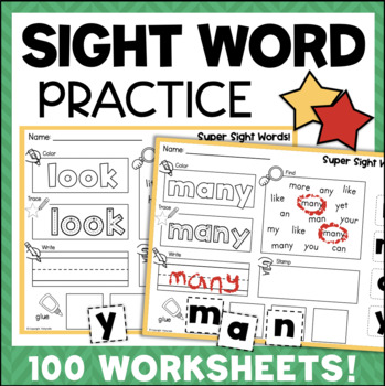 Sight Word Printables 100 No-Prep Worksheets