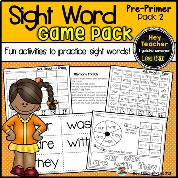 Sight Word Game Pack #2  Dolch Primer