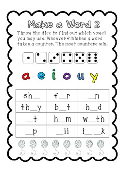 Sight Words Roll a Vowel