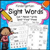 Kindergarten Sight Words Activities - Set One