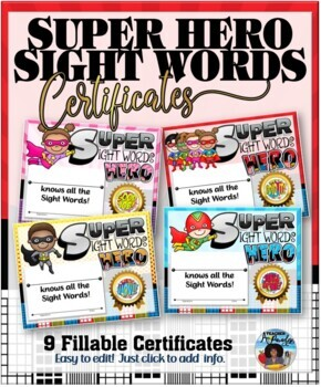 Sight Words Super Heroes Certificates Pack