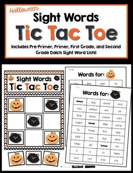 Sight Words Tic Tac Toe - Halloween Version!