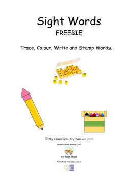 Sight Words: Trace, Colour, Write and Stamp Words FREEBIE