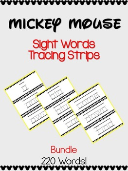 Sight Words Tracing Strips Bundle -- 220 Dolch Words -- Mi